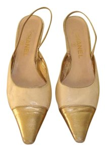 Chanel 1990s Karl Lagerfeld Cream, gold Pumps