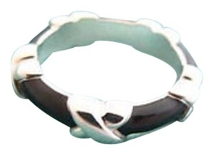 Tiffany & Co. Size 5.75, Sterling Silver, Signature X, Black Enamel, Stacking Ring
