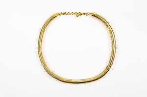 MONET Vintage Monet Gold Tone Round Snake Chain Link Choker Necklace