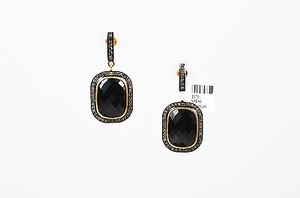 Other 14k Gold Sterling Silver Black Onyx Diamond Embellished Drop Earrings