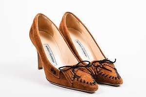 Manolo Blahnik Suede Pointed Toe Moccasin Fringe Tie Brown Pumps