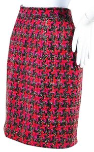 Chanel Boutique Pink Black Tweed Houndstooth Pencil Skirt Multi-Color