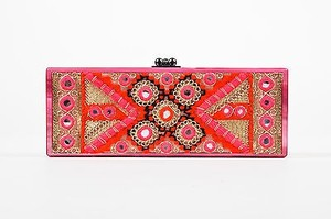 Edie Parker Edie Gold Tone Red Acrylic Embroidered Marble Mirrored Box Pink Clutch