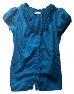Romy Ruffle Collar Top Teal