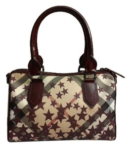 Burberry Bowling Star Patent Leather Satchel in burgundy