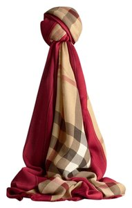 Burberry Burberry Red Haymarket check modal cashmere scarf Size L