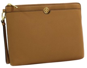 Tory Burch Robinson Leather Zip Top Pouch Brown Clutch