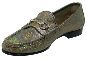 Gucci 318394 Womens Metallic Leather 1953 Horsebit Loafer 8us Fawn Flats