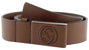 Gucci Gucci 368188 Unisex Leather Covered Plaque Buckle Belt Brown 90-36