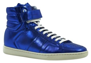 Saint Laurent Ysl 345810 Womens Metallic Leather Hi Top Sneaker Blue Athletic