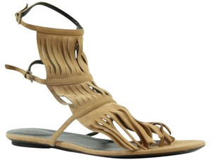 Gucci Womens 347285 Becky Suede Fringed Flat Gladiator 355us Display Camelia Sandals