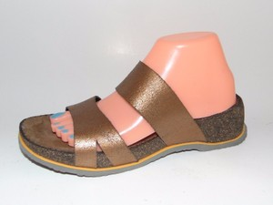 Ariat Slide Antique Crackle Leather Cork Wedge Gold Sandals