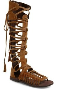 Free People People Sun Seeker Tall Gladiator Greek 37 Nw Brown Sandals