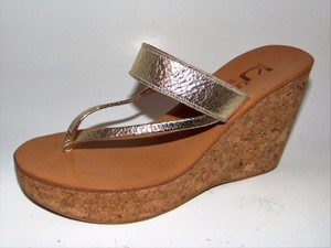 K. Jacques K Tropez Saturnine Cork Wedge Thong Gold Sandals