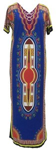 Traditional Blue Dashik Maxi Dress by Maxi