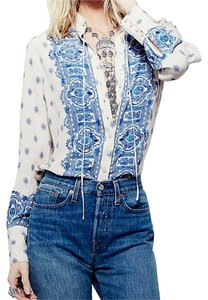 Free People Button Down Shirt Button Down Shirt Well Border Print