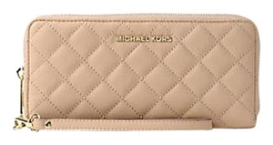 Michael Kors Michael Jet Set Travel Saffiano Leather Continental Wallet Sky Blue Wristlet in BISQUE
