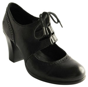 Brn Lace Up 38 Leather Funky Black Pumps