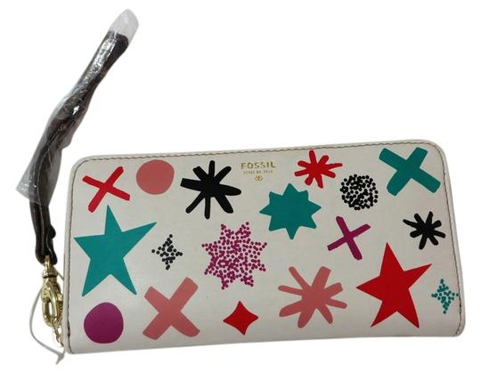 Fossil Fossil Leather Sydney Gift Starburst Print Zip Clutch Wallet Fossil Clutch