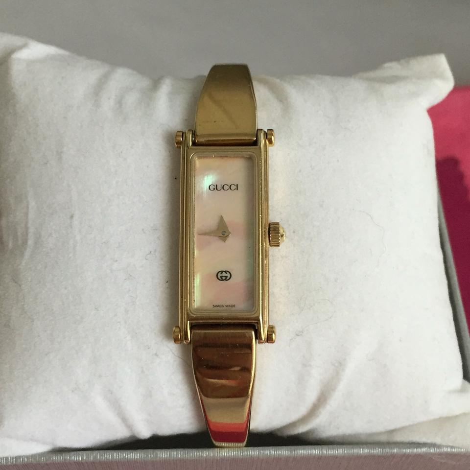 baccb2f1c47 Gucci GUCCI - Gold Plated Bangle Watch Mother of Pearl Face - Model 1500L  Image 8. 123456789
