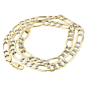 Mens Real 10k Yellow Gold Diamond Cut Figaro Chain 9.50mm Necklace 22-30 Inches