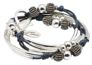 Lizzy Jame Lizzy James - London leather and silver wrap bracelet