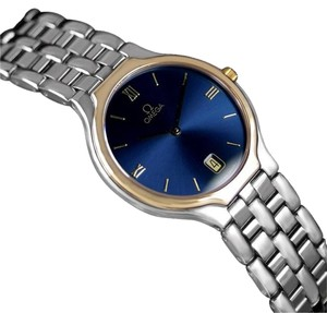 "Omega Omega De Ville ""Symbol"" Mens Quartz Blue Dial Dress Watch"