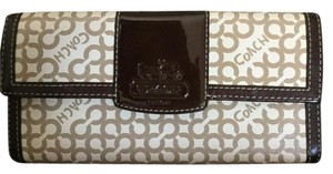 Coach Coach Signature Round PVC Checkbook Wallet Accordian