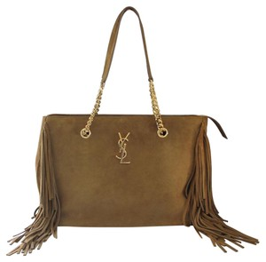 Saint Laurent Ysl Yves Fringe Suede Shoulder Bag