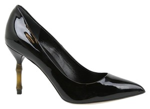Gucci Bamboo Heel Patent Leather Classics Black Pumps