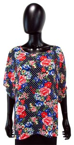 Torrid Sheer Polka Dot Floral Top Multi