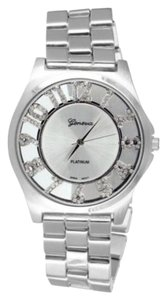 Geneva Platinum Geneva Watch Platinum Simulated Diamond 41mm Stainless Steel Back