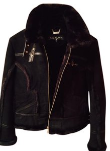 Baby Phat Faux Fur Perfecto Biker Motorcycle Leather BLACK Leather Jacket
