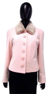 Louben Faux Fur Button Down Wool Blend Collared Pink Jacket