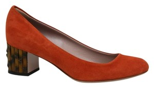 Gucci Bamboo Heel Suede Orange Pumps