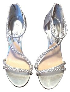 Michael Kors Metallic Leather Dressy Sandal Metallic Leather High Heel Strappy Sandal Silver Formal