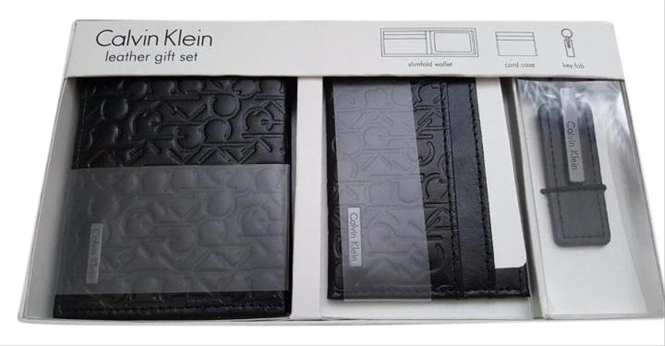 34e3c15a3d Calvin Klein Calvin Klein embossed logo leather wallet card holder keychain  fob SET Image 0 ...