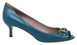 Gucci Horsebit Peep Toe Blue Pumps
