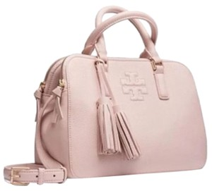 Tory Burch Leather Satchel in Light Oak