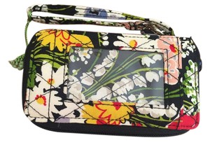 Vera Bradley Id Case Black Flowers Wristlet in Poppy Fields