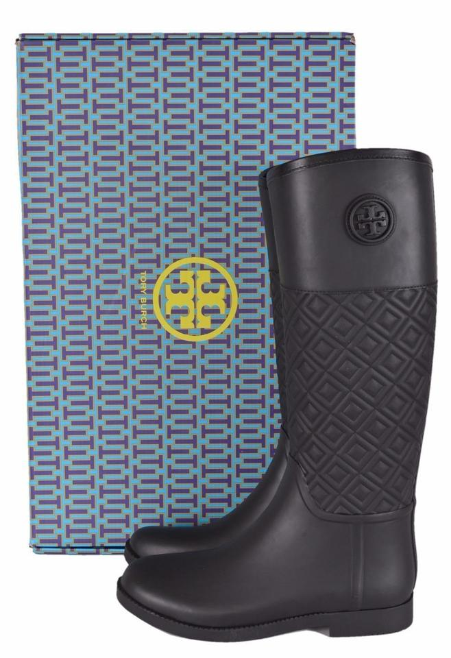 540d4ad1fd731d Tory Burch Black T Marion New Quilted Rubber Logo Rain Boots Booties ...