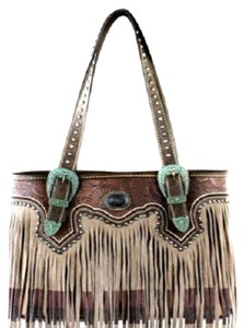 Montana West Leather Fringe Tote in Tan