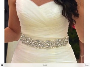 High Quality Crystal Beaded Bridal Sash White