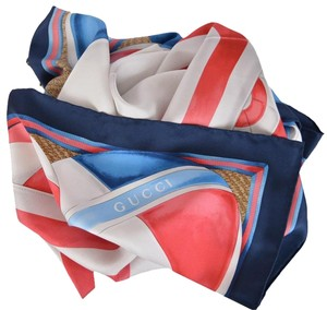 Gucci Gucci Blue Red Holiday Parasol Beach Ball Print Silk Square Neck Scarf