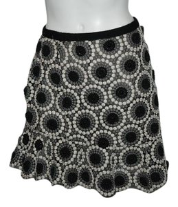 Marc Jacobs Mauve Pleated Ruffled Floral Silk Mini Skirt BLACK, GRAY, WHITE