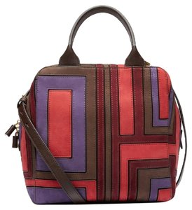 Tory Burch Suede Patchwork Leather Fall Winter Satchel in Espresso/Purple/Red