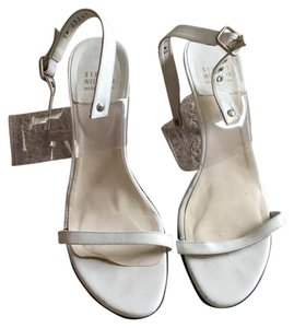 Stuart Weitzman White with clear straps Formal