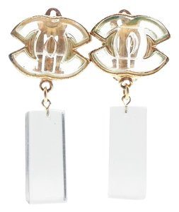 Chanel Vintage Chanel Gold CC Frame Ice Bar Dangle Clip on Earrings