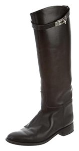 Herms Hermes Leather Jumping Black Boots