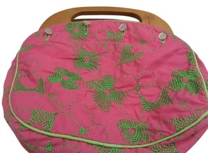 Lilly Pulitzer Wood Removable Reversible Pink and Green Clutch